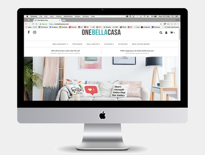 One Bella Casa Website Design on Shopify & Mock Up Graphics